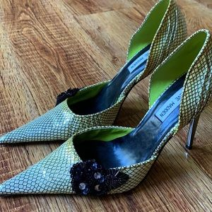 Steve Madden faux leather heels with beaded detail